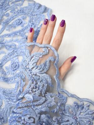Кружево голубое плотное с вышивкой стеклярусом (8056) - Фото 17