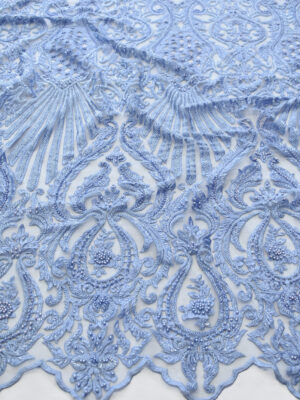 Кружево голубое плотное с вышивкой стеклярусом (8056) - Фото 16