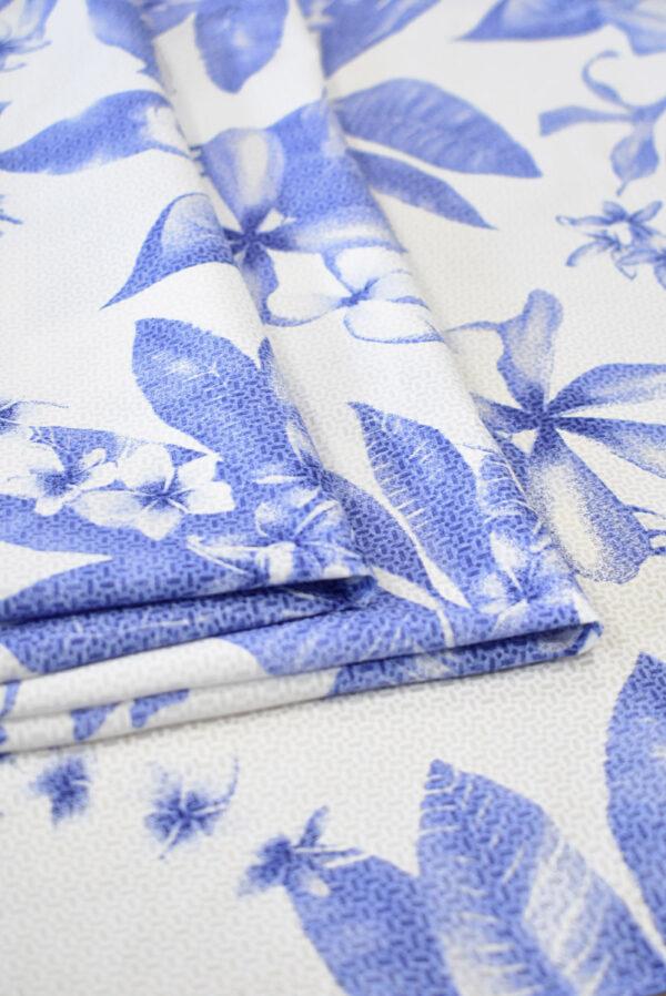 Хлопок белый с синими цветами (8065) - Фото 9