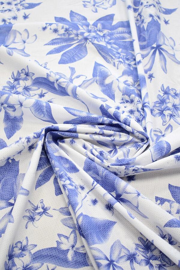 Хлопок белый с синими цветами (8065) - Фото 8