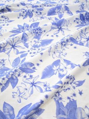 Хлопок белый с синими цветами (8065) - Фото 16