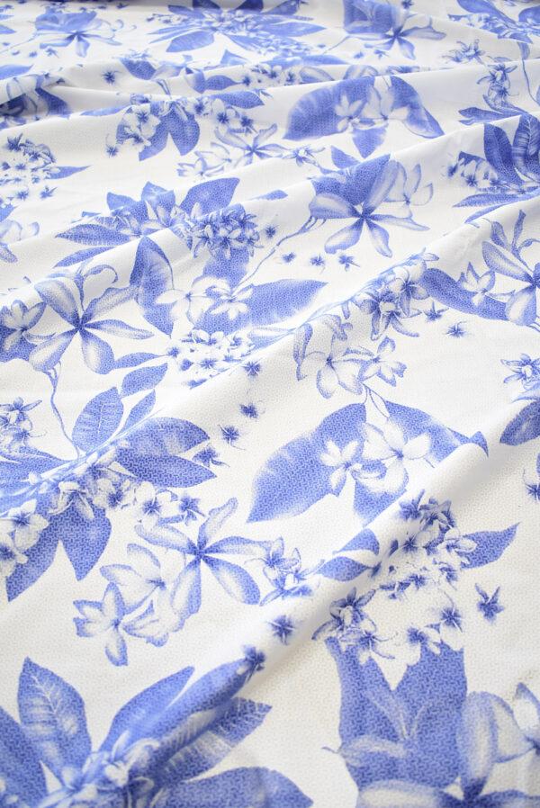 Хлопок белый с синими цветами (8065) - Фото 6