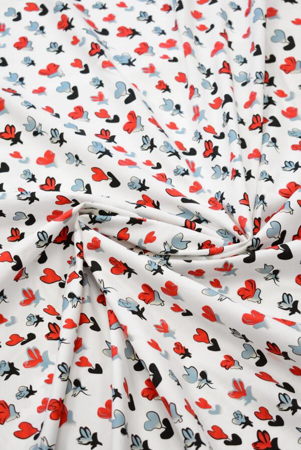 Хлопок стрейч белый с абстрактными цветами (8071) - Фото 9