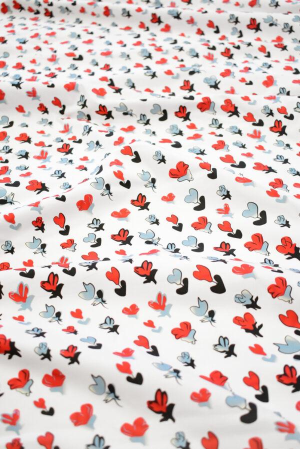 Хлопок стрейч белый с абстрактными цветами (8071) - Фото 6