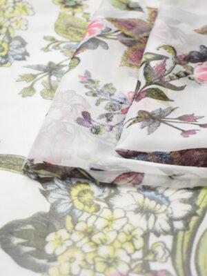 Шифон шелковый белый с цветами (8075) - Фото 15