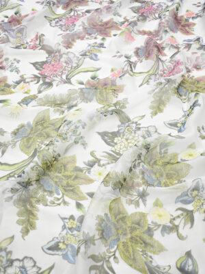 Шифон шелковый белый с цветами (8075) - Фото 14
