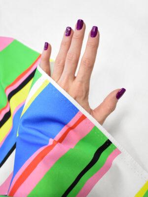 Сатин стрейч в разноцветную полоску (8081) - Фото 12