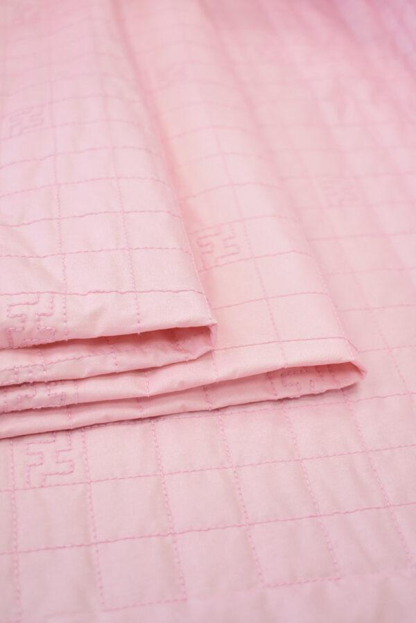 Курточная стеганая ткань нежно-розовая с синтепоном (8106) - Фото 9
