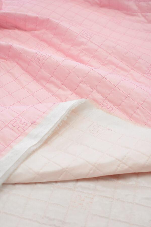 Курточная стеганая ткань нежно-розовая с синтепоном (8106) - Фото 10