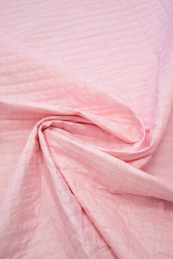 Курточная стеганая ткань нежно-розовая с синтепоном (8106) - Фото 8
