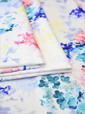 Сатин стрейч яркие цветы на белом фоне (8111) - Фото 16