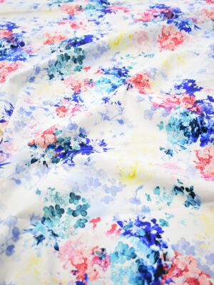 Сатин стрейч яркие цветы на белом фоне (8111) - Фото 15