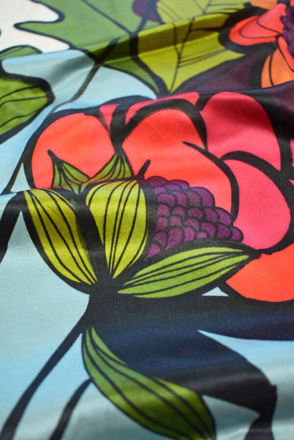Шелк крупные цветы и листья на светлом фоне (8128) - Фото 11