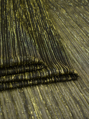Трикотаж плиссе темно-оливковый с золотым люрексом (8148) - Фото 15
