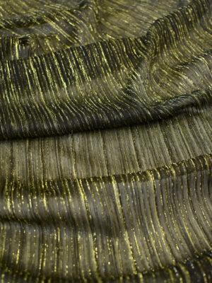 Трикотаж плиссе темно-оливковый с золотым люрексом (8148) - Фото 14