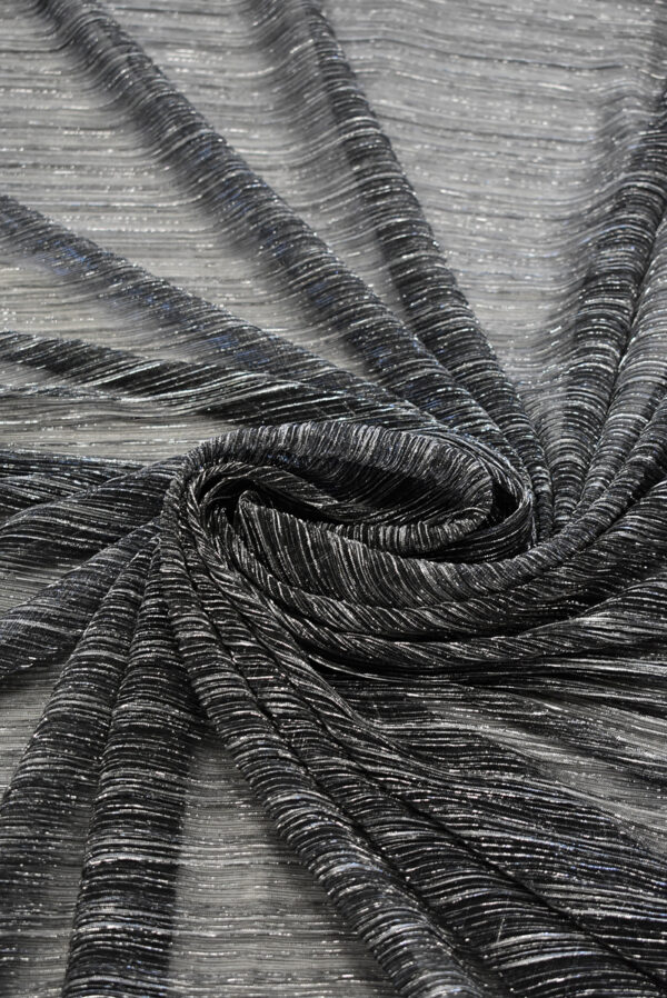 Трикотаж плиссе графитовый оттенок с люрексом (8149) - Фото 7