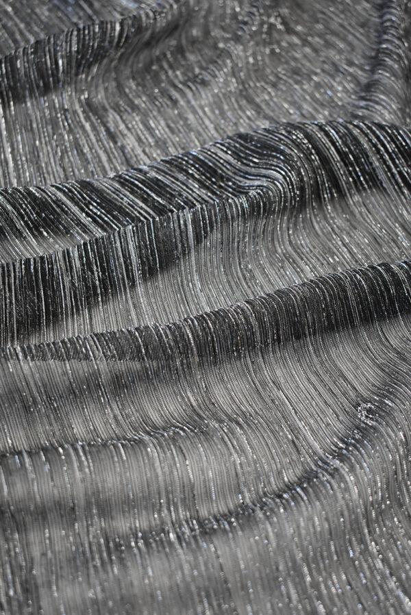 Трикотаж плиссе графитовый оттенок с люрексом (8149) - Фото 6