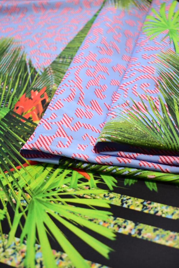 Тафта купон красные попугаи тропики (8166) - Фото 7