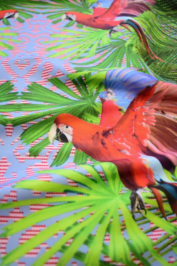 Тафта купон красные попугаи тропики (8166) - Фото 9