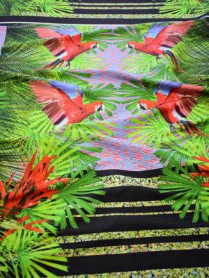 Тафта купон красные попугаи тропики (8166) - Фото 13