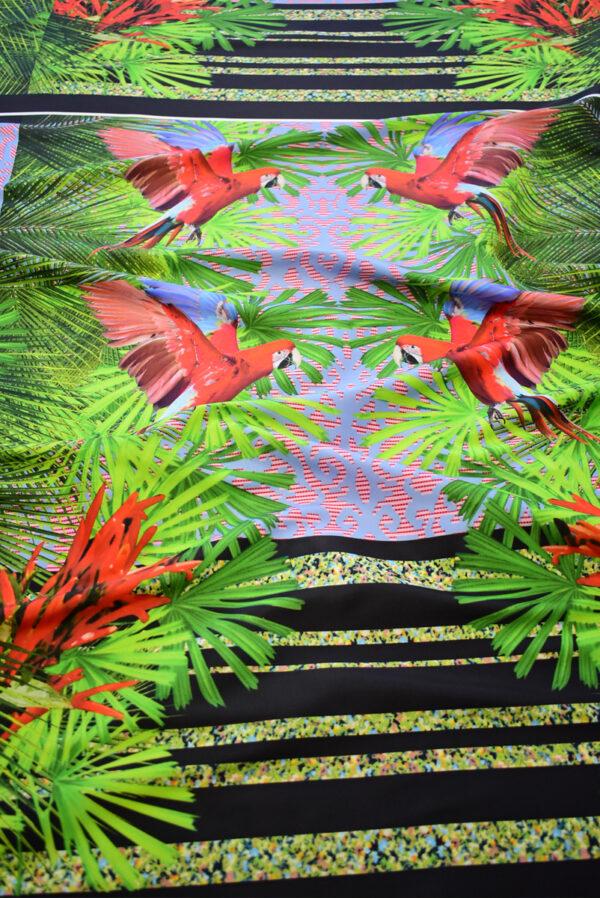 Тафта купон красные попугаи тропики (8166) - Фото 6