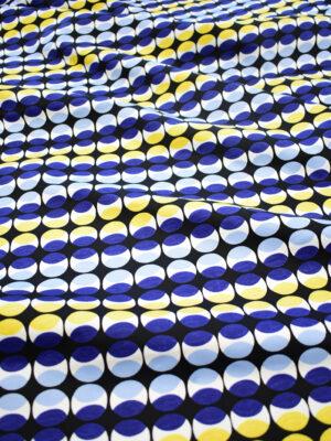 Поплин стрейч черный в синий и желтый горох (8172) - Фото 12