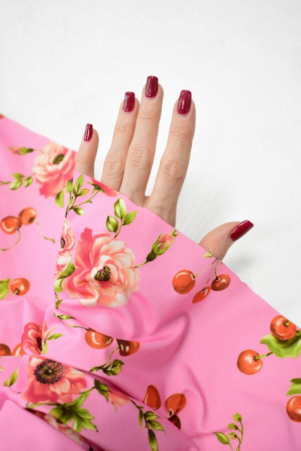 Трикотаж розовый с вишнями и розочками (8204) - Фото 7