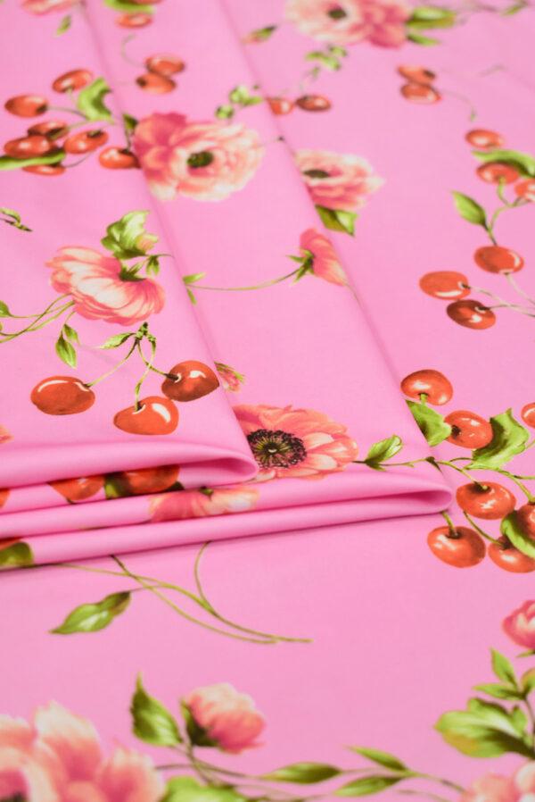 Трикотаж розовый с вишнями и розочками (8204) - Фото 8