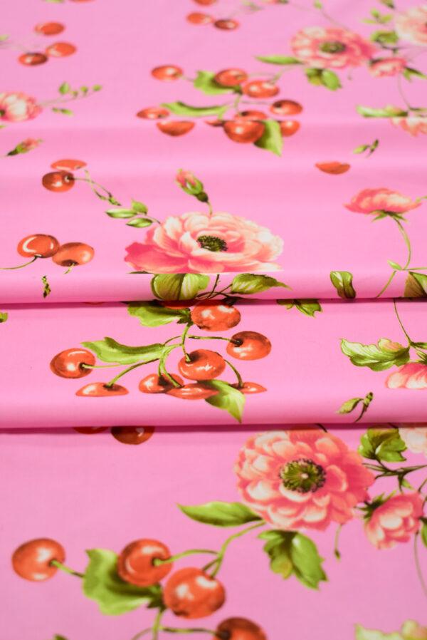 Трикотаж розовый с вишнями и розочками (8204) - Фото 10