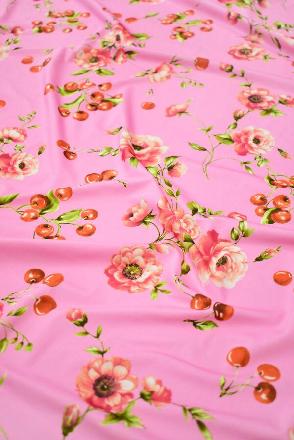 Трикотаж розовый с вишнями и розочками (8204) - Фото 6