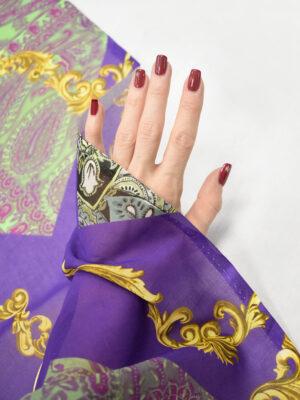 Батист фиолетовый с золотым напылением и цветочным узором (8268) - Фото 17