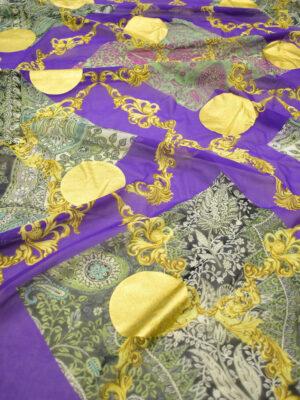 Батист фиолетовый с золотым напылением и цветочным узором (8268) - Фото 16