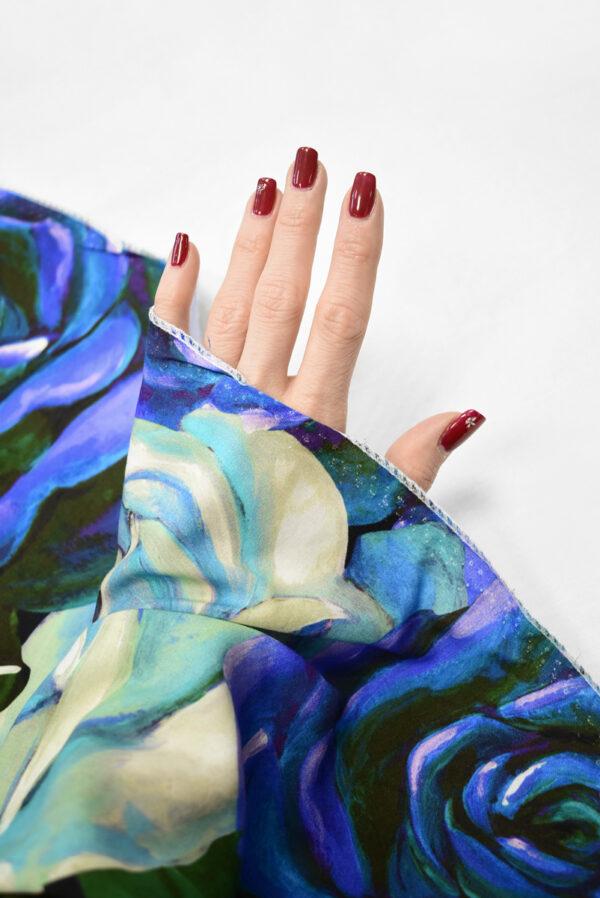 Штапель с синими и мятными розами (8309) - Фото 7