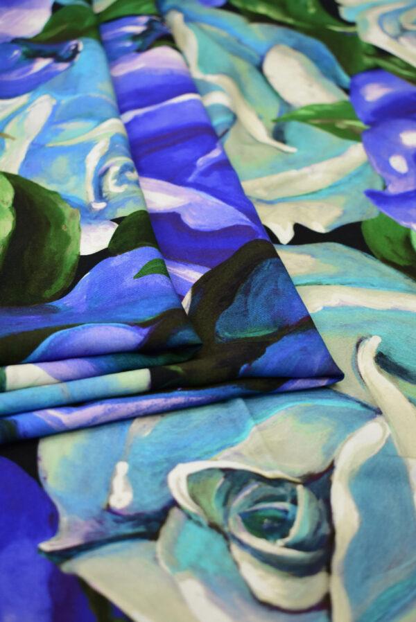 Штапель с синими и мятными розами (8309) - Фото 9