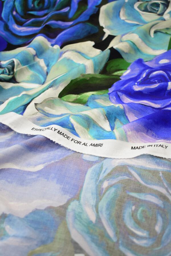 Штапель с синими и мятными розами (8309) - Фото 10