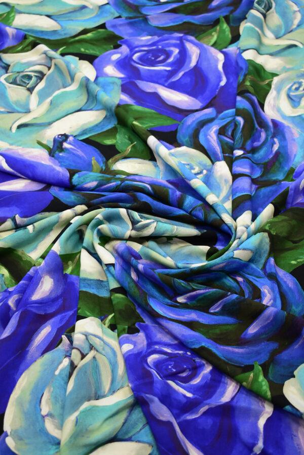 Штапель с синими и мятными розами (8309) - Фото 8