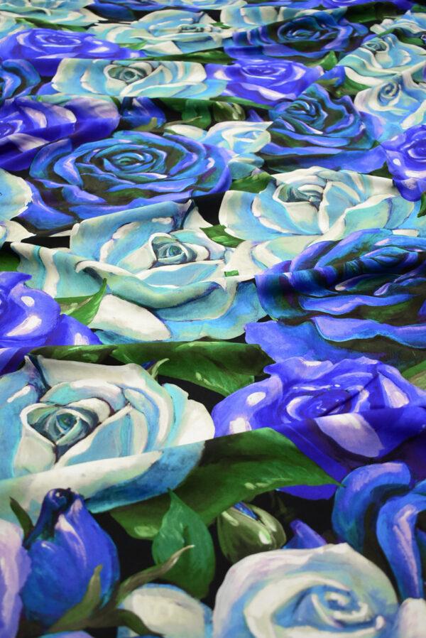 Штапель с синими и мятными розами (8309) - Фото 6