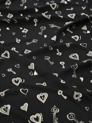 Креп черный с ключиками и сердечками (8339) - Фото 17