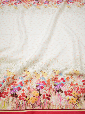 Матлассе стрейч в цветочек с красной каймой (8346) - Фото 17