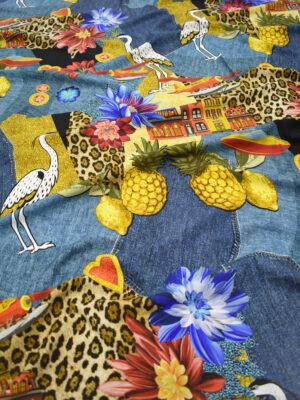 Шелк стрейч коллаж с цветами цаплями архитектурой (8351) - Фото 18