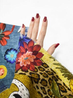 Шелк стрейч коллаж с цветами цаплями архитектурой (8351) - Фото 19