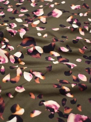 Штапель стрейч коричневый с лепестками роз (8426) - Фото 17