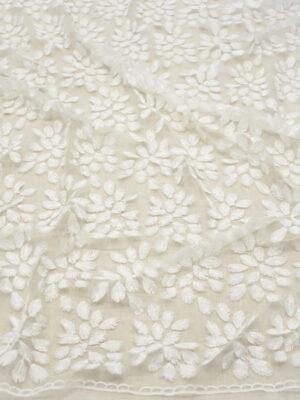 Вышивка на сетке молочно-белая с листиками (8470) - Фото 15