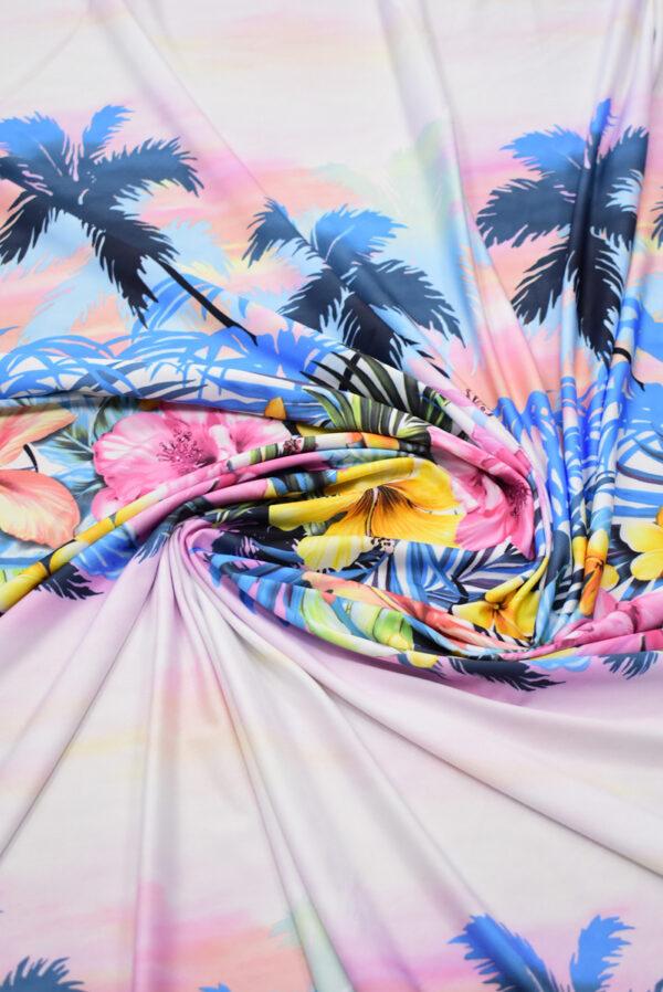 Трикотаж купон пейзаж с пальмами и цветами (8563) - Фото 8