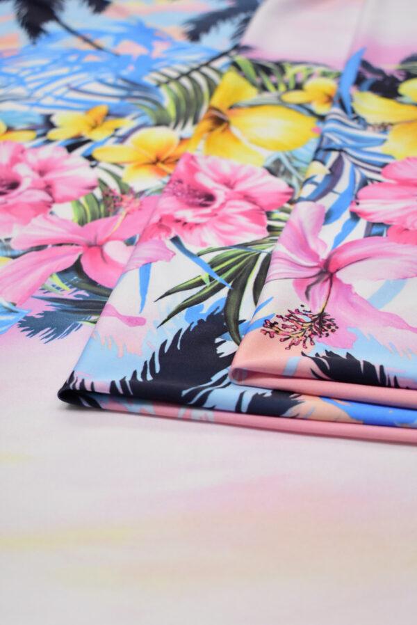 Трикотаж купон пейзаж с пальмами и цветами (8563) - Фото 9