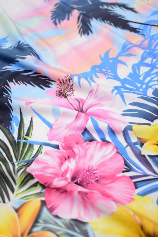 Трикотаж купон пейзаж с пальмами и цветами (8563) - Фото 10