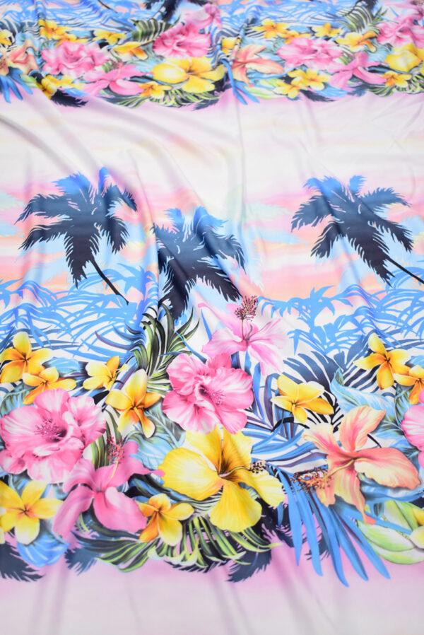 Трикотаж купон пейзаж с пальмами и цветами (8563) - Фото 6