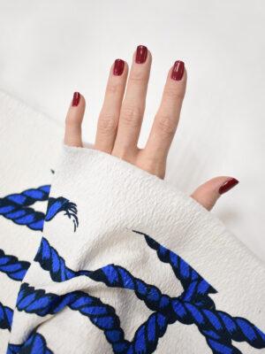 Рогожка белая с синими канатами (8597) - Фото 13