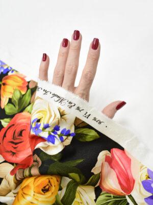 Джерси с цветочным принтом на черном фоне (8649) - Фото 12