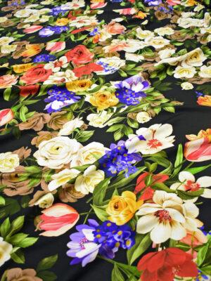 Джерси с цветочным принтом на черном фоне (8649) - Фото 11